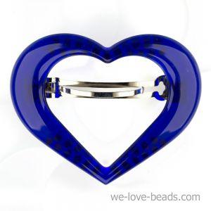 9x7cm Herz Patentspange offen in blau