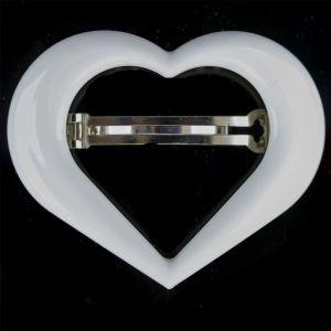 9x7cm Herz Patentspange offen in weiß