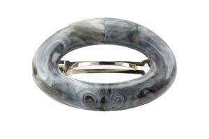 9,5x6cm Patentspange oval offen in schwarz weiss