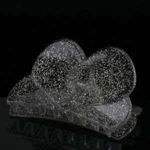 84x45 Haarklammer Herz in kristall  mit silbernem glitter