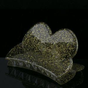 84x45 Haarklammer Herz in kristall  mit goldenem glitter