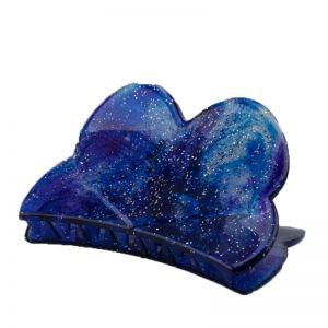 84x45 Haarklammer Herz in nachtblau  mit silbernem glitter