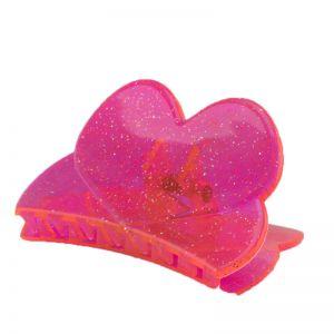 84x45 Haarklammer Herz in neon pink  mit silbernem glitter
