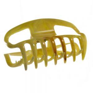 10cm Haarkralle groß mit offenen seiten in gelb beige