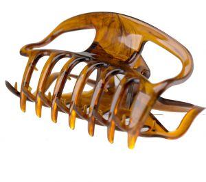 10cm Haarkralle groß mit offenen seiten in havanna