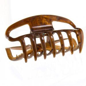 10cm Haarkralle groß mit offenen seiten in braun