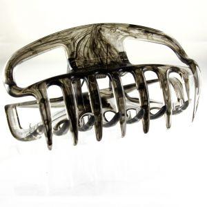 10cm Haarkralle groß mit offenen seiten in rauchgrau