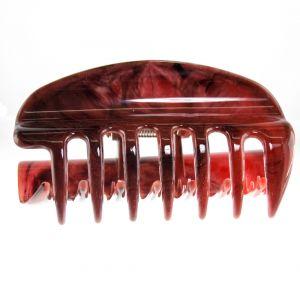 10cm Haarkralle groß mit geschlossenen seiten in dunkelrot