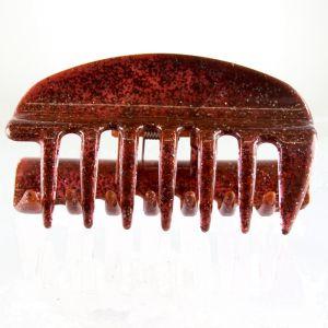 10cm Haarkralle groß mit geschlossenen seiten in rot  mit silbernem glitter