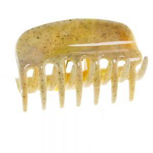 6cm Haarkralle in bernstein  mit goldenem glitter