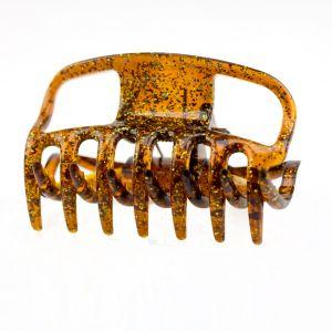 6cm Haarkralle in havanna flitter gold